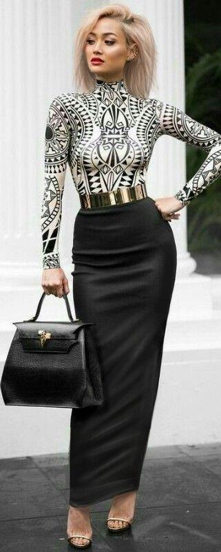 Long black hobble skirt