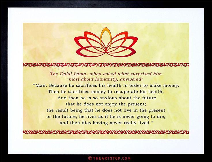 AmazonSmile: QUOTE DALAI LAMA HUMANITY SACRIFICES MONEY ...