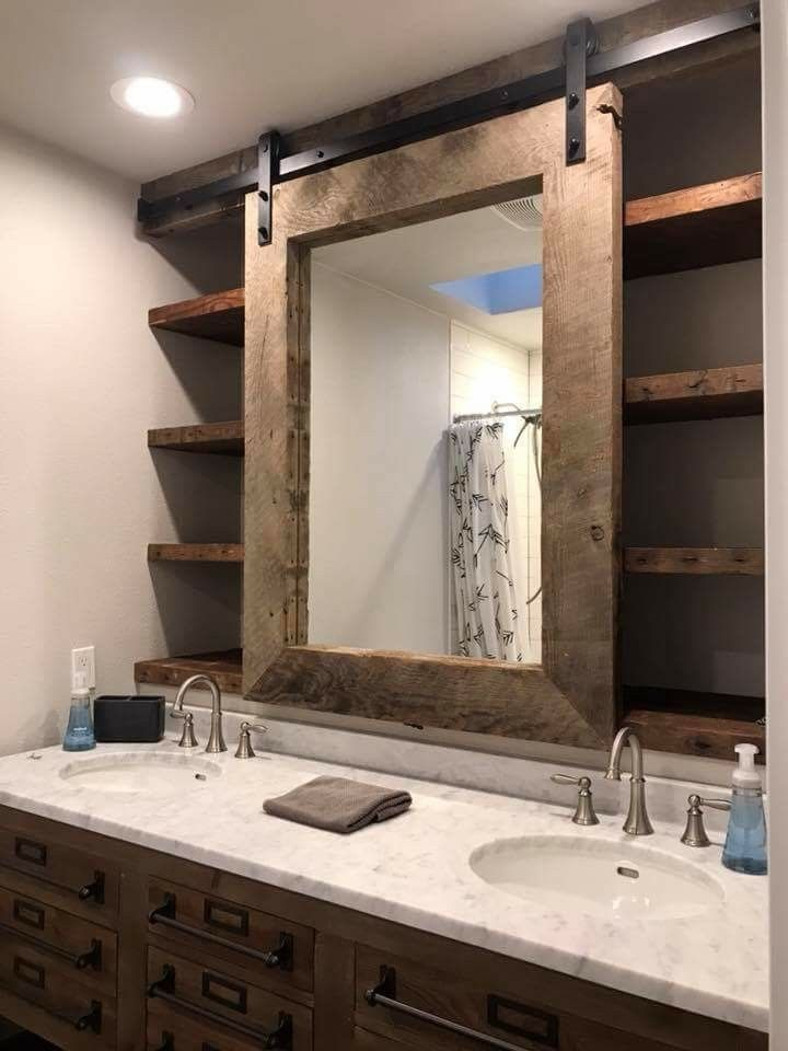 Bathroom With Barn Door Rolling Mirror Shelving Behind