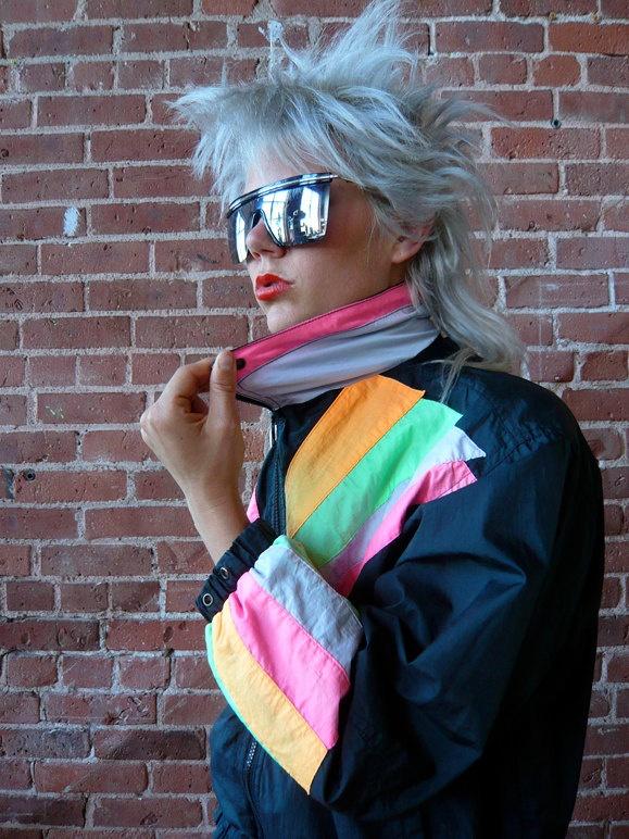 Vtg. 80s rave color burst windbreaker jacket. $36.00, via Etsy.