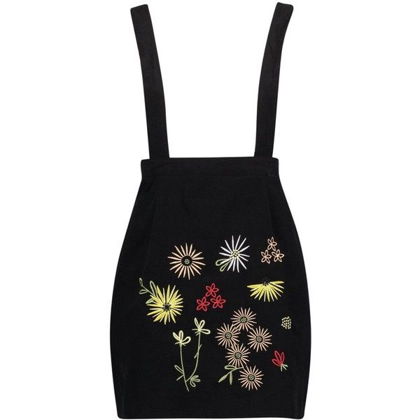 Boohoo Alison Embroidered Drop Waist Pinafore Dress ($22) ❤ liked on Polyvore featuring dresses, drop-waist dresses, drop waist dress, pinny dress, embroidery dress and embroidered dress