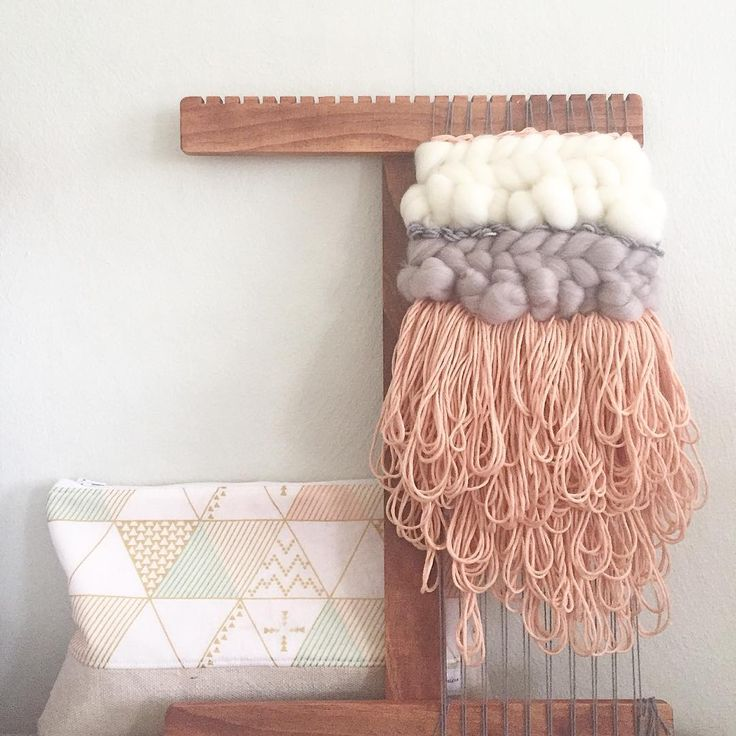 "Cam Kennedy on Instagram: ""Peachy mini and my dreamy little weaving tools pouch""  ☁️ woven wall hangings weave witch wool & needle by cam kennedy"