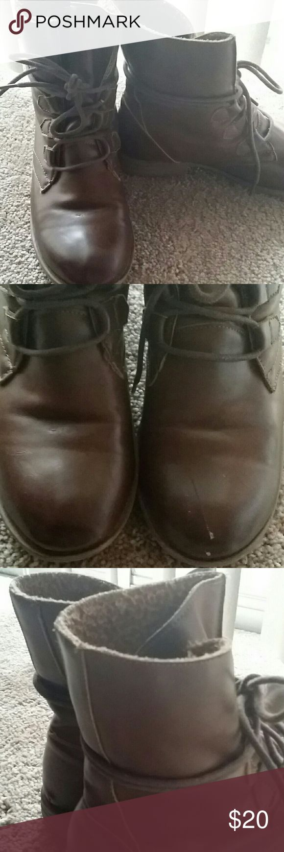 Wrapped ankle boots Insulated winter boots, laces wrap around, very warm, only worn a couple times, has a minor scratch on one boot, in good condition Wanted Shoes Winter & Rain Boots