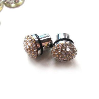 pave rhinestone studded plugs for Gauged Ears  1 Pair by CUDAGE, $26.00