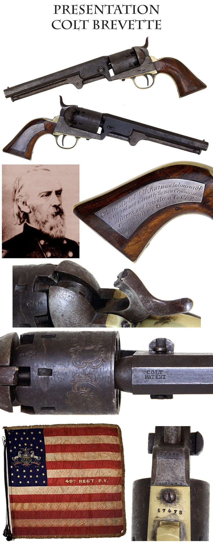 """Fine Brevet Colt Navy Revolver of Colonel Wm. H. Irwin 49th Pennsylvania Vols - Wounded in Action at Chancellorsville and Cited for Gallantry at Antietam: A stellar Brevet Navy with magnificent silver presentation plaque on the right grip. It is inscribed """"Presented to Col. W. H. Irwin as a testimonial of respect and esteem by the non commissioned officers and privates of Co. C & E Feb. 22nd 1862""""."""