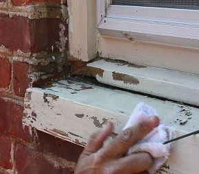 how to repair a rotten window sill, home maintenance repairs, how to, windows, After removing the rotten wood scrape off any loose paint and wipe the window sill with a damp rag
