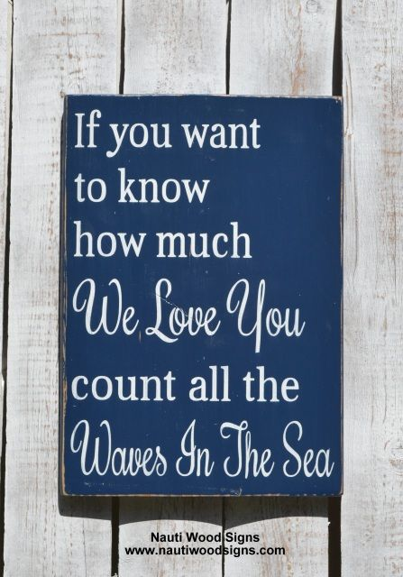 Nautical Nursery Decor Beach Baby Sign Coastal Theme Babies Room Baby Shower Rustic Wooden Signs If You Want To Know How Much We I Love You Count The Waves Of The Sea
