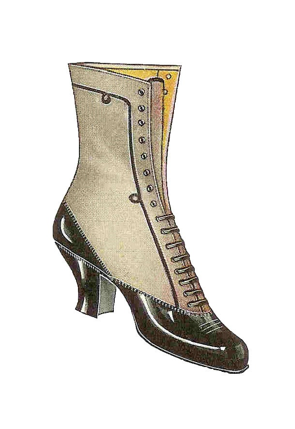 Antique Images: Free Shoe Clip Art: Vintage 1917 Women's Boot Black and White Lace Boot