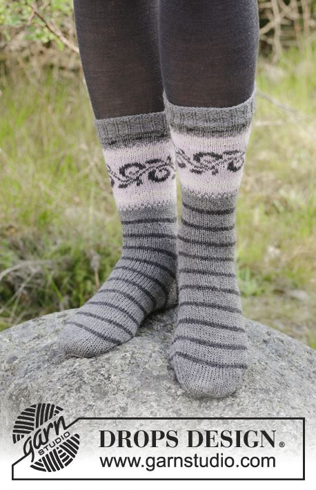 Knitted socks with multicolored Norwegian pattern …