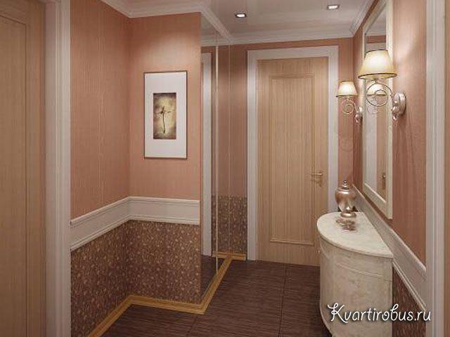 Для стен коридора также имеет смысл комбинировать отделку: внизу использовать стойкую к загрязнениям, а выше - эстетически более привлекательную.