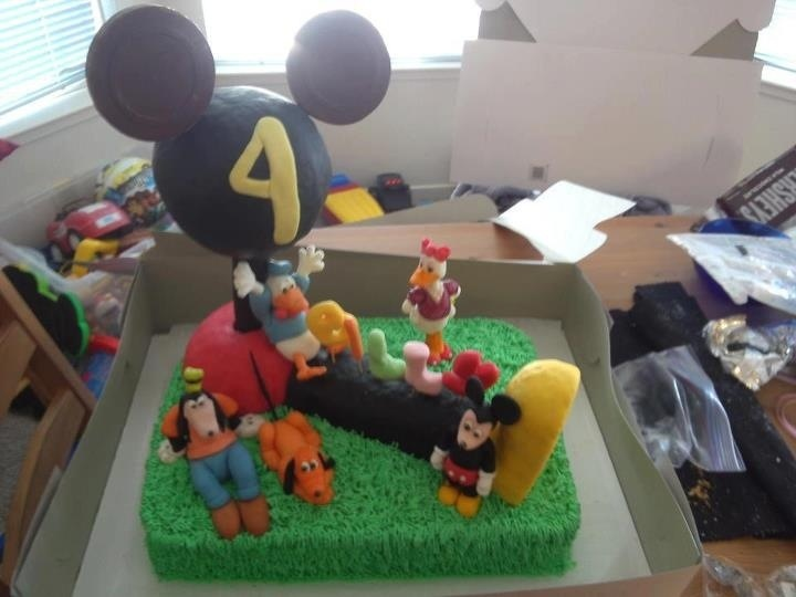 Boys 4 th birthday Mickey Mouse clubhouse cake I made
