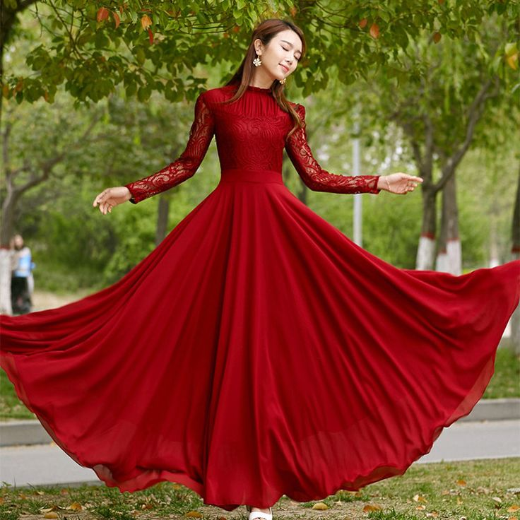 Charming Long Lace Sleeves Pleated Chiffon Long Red Maxi Dress #chiffondress #lacedress #reddress