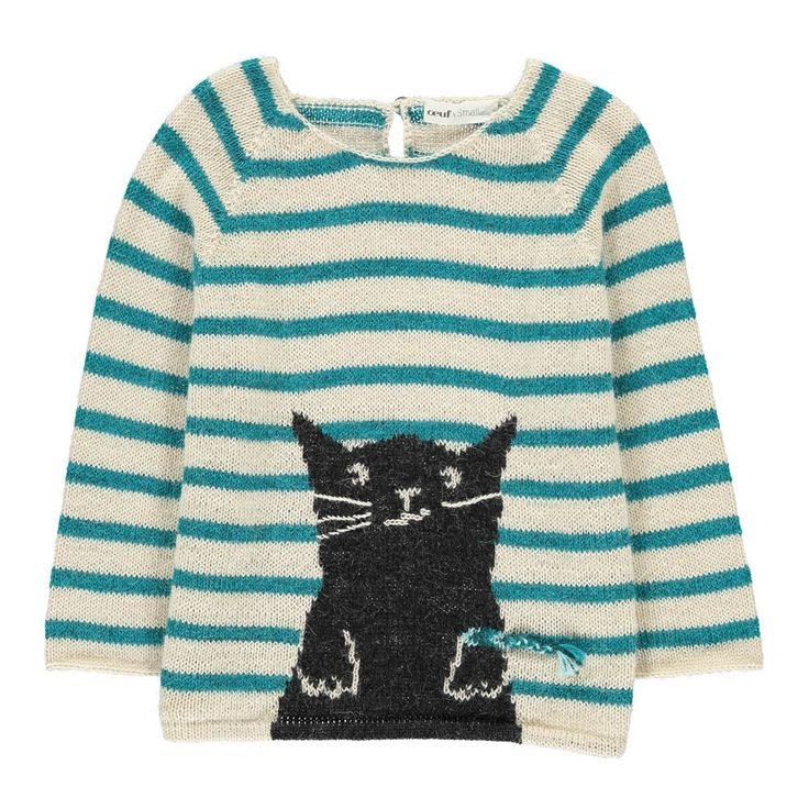 Cat Stripe Alpaca Wool Smallable X Oeuf Exclusive Jumper