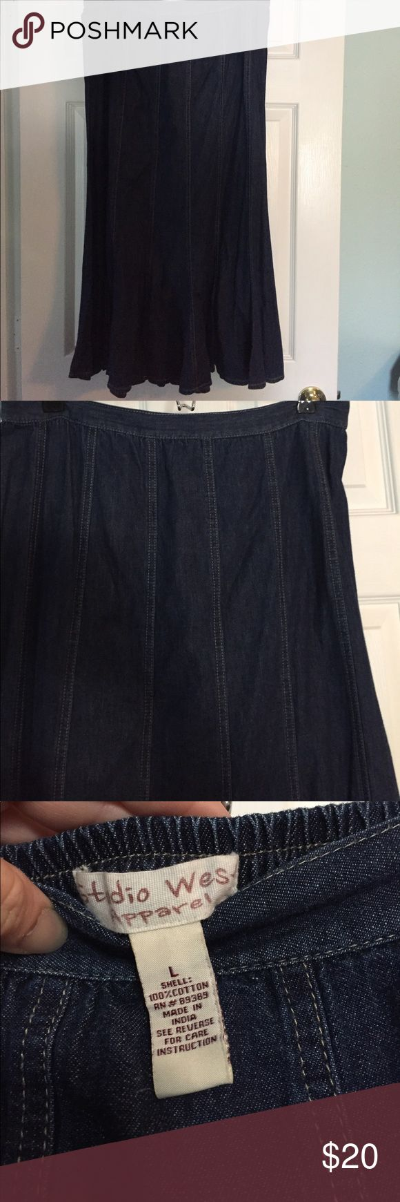 "Like New Ladies Size L Long Denim Skirt Like new!! Worn once, washed and been hanging in my closet since. Beautiful skirt just didn't work for me. Dark denim, waistband in front and elastic in the back, more fitted/a-line style at the top and then flares out very full at the bottom- sort of trumpet style. Length 33"", waist 33"" unstretched, hips 44"" as pictured. When I was measuring the length I noticed 1 tiny place (less than 1/4"") where thread has came out on the hem as pictured otherwise…"