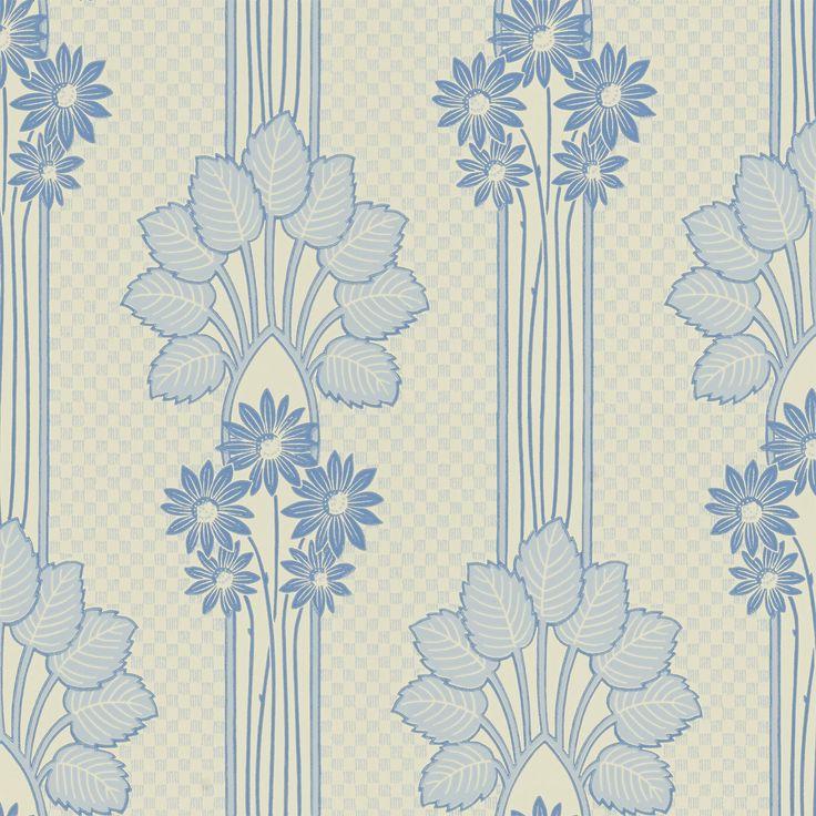 Slingrande växtstjälkar som kröns av en blomsterbukett, gör tapeten till ett klassiskt jugendmönster tolkade i samtida färgställningar.
