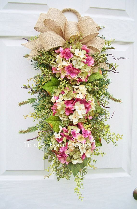 Hydrangea Wreath Swag Spring Blossoms Door by timelesshomedecor