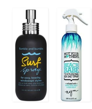 The Bumble and Bumble surf spray is great for creating beachy texture, but you can find many alternative formulas that create the same affect, either from the drugstore or from your own kitchen with DIY salt sprays. For a drugstore alternative, try the Not Your Mother's beach babe texturizing spray. Just spray it in your hair and start scrunching or twirling your hair and you'll get a texturized, beachy style in no time.