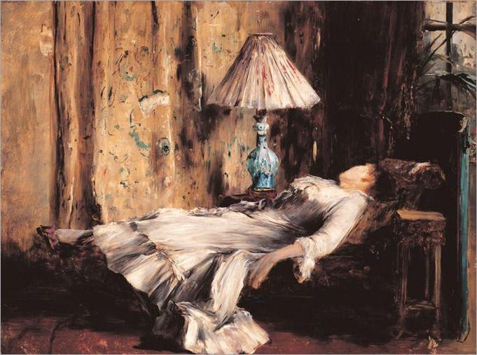 Resting Lady (Sleeping Lady), Munkácsy, Mihály. Hungarian (1844 - 1900)