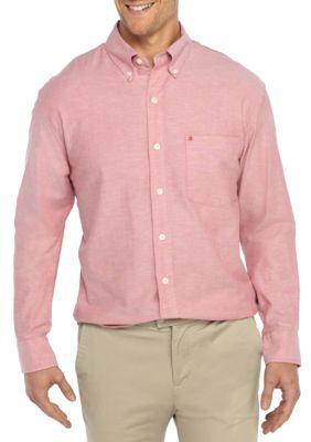Izod Men's Big & Tall Long Sleeve Oxford Shirt - Saltwater Red - 2Xlt