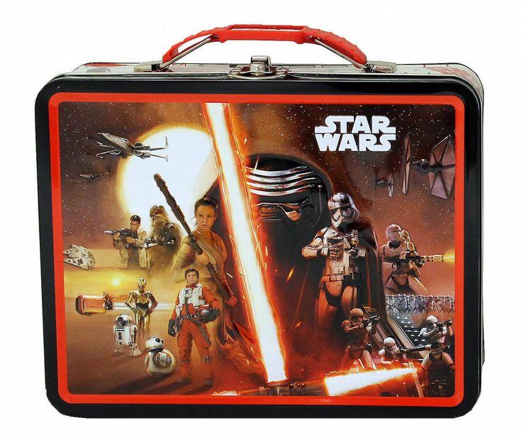 Star Wars Black Red Lunch Box Girls Children Metal Tin Steel School Bag #Unbranded