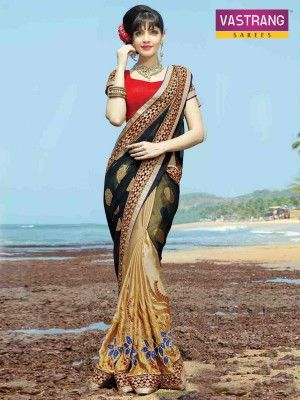 Vastrang Art Silk saree with embroidery work & blouse
