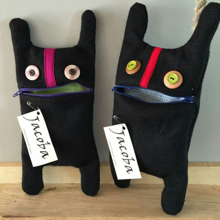 Jacoba monster. These make great pencil cases, pouches for kiddos treasures or use it to throw your make up in, stash a toothbrush etc.