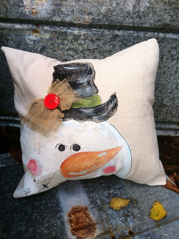 Whimsical Handpainted Snowman Pillow Cover by SippingIcedTea, $28.00