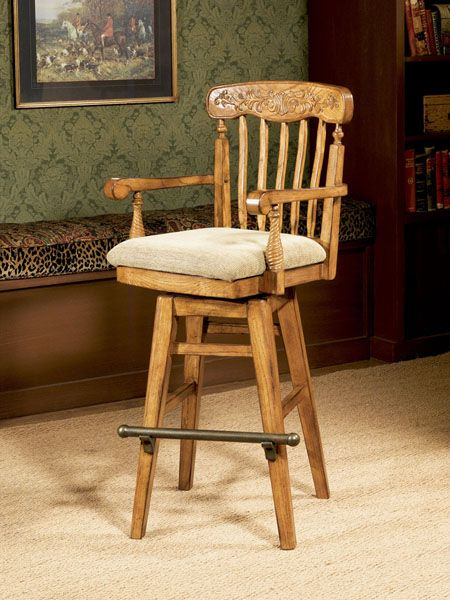 Fabric Covered Swivel Barstools With Arms Woodland Oak