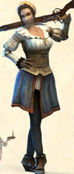 Fable 3 Female Hero, more options were given to the female hero in 3 compared to 1 and 2 as seen here holding her......musket.