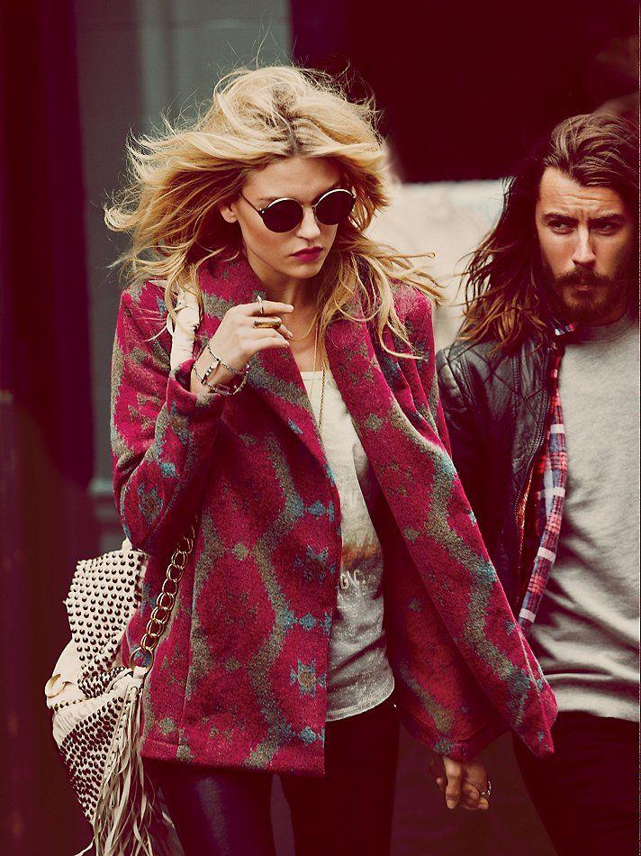 Otis & Maclain Changing Patterns Wool Swing Coat at Free People Clothing Boutique