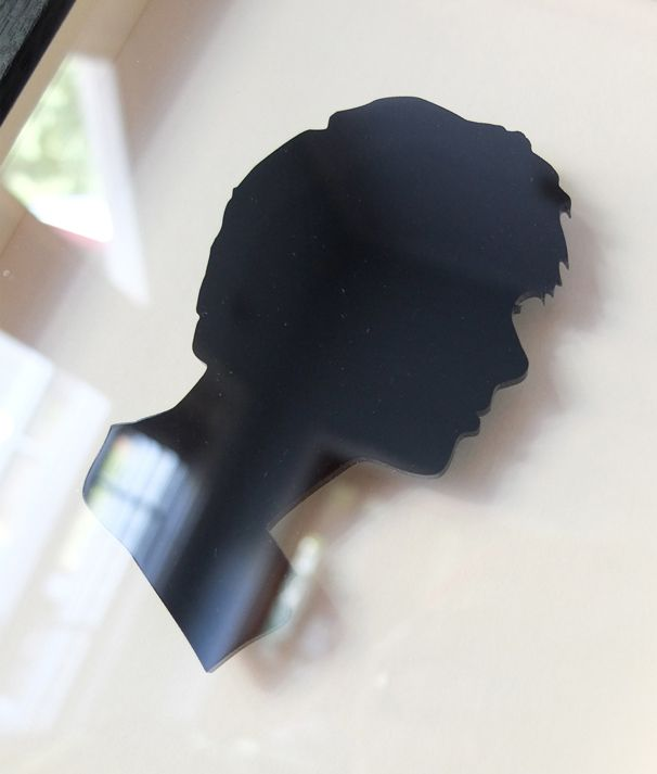 Dom. 3mm laser cut acrylic silhouette. Cream mount. Custom frame in black oak. 210mm wide x 230mm x 50mm deep.