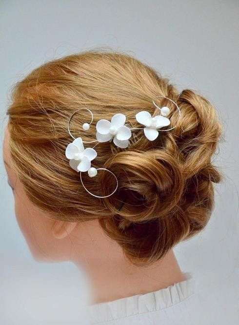 Ivory headpiece Orchid hair comb  Bridal hair comb Wedding headpiece Hair piece Floral headpiece Wedding hair accessories