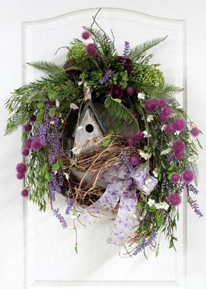 Wildflower Spring Birdhouse Wreath...