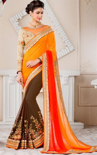 Flamboyant Chocolate Georgette and Chiffon Saree