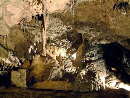"""""""La salle des Scarabées"""". A l'entrée de la salle, à gauche, se trouve la Galerie Belgo-romaine et son chantier de fouilles archéologiques. En effet, les entrées de la grotte ont servi de refuge à l'homme depuis la fin du Néolitique et jusqu'à l'époque moderne."""