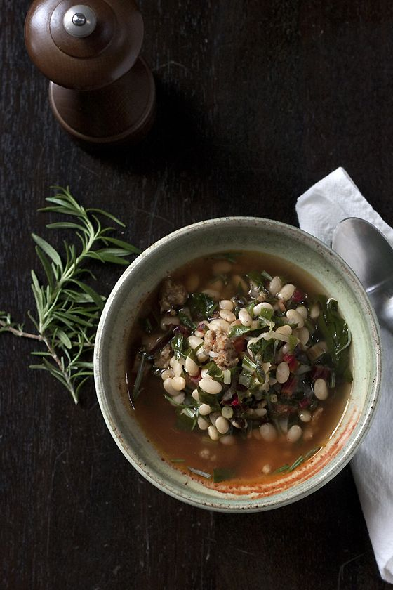 bean, sausage and chard soup | Soup, Stews & Chowders | Pinterest