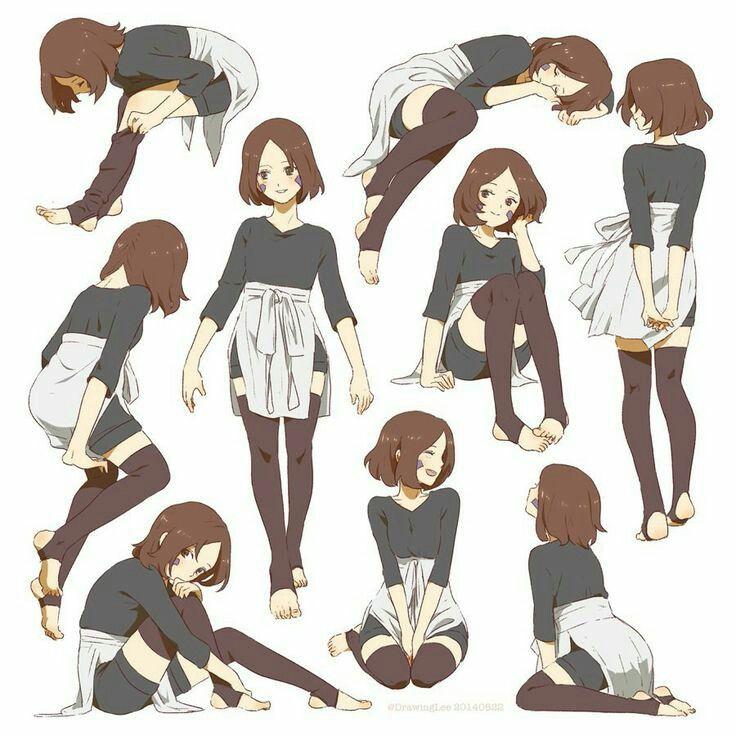 Позы девочки аниме