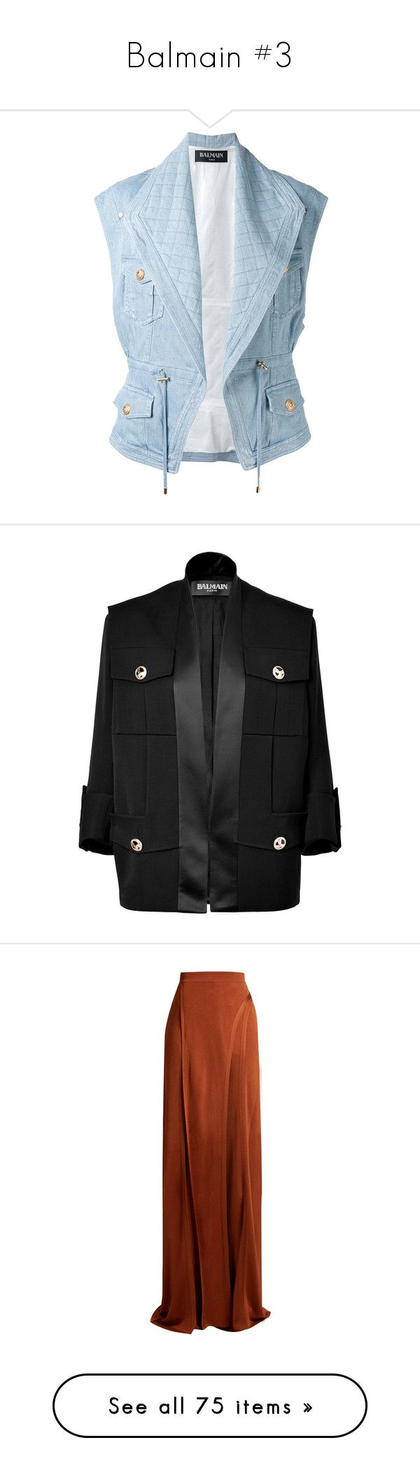 """Balmain #3"" by deborahsauveur ❤ liked on Polyvore featuring outerwear, vests, jackets, blue, quilted gilet, blue waistcoat, denim vests, gilet vest, denim waistcoat and black"