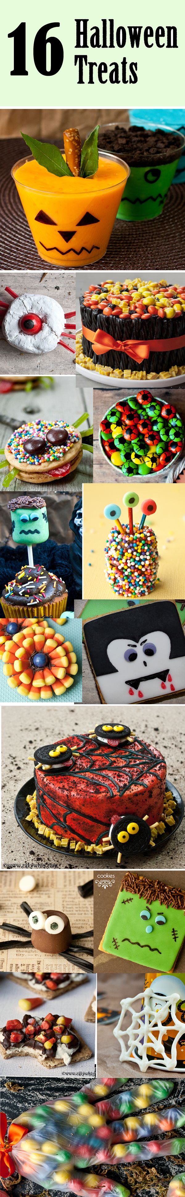 16 fun HALLOWEEN treats to inspire you. There is something in here for everyone, ranging from spooky cakes, cupcakes, cool cakes and so much more! From cakewhiz.com