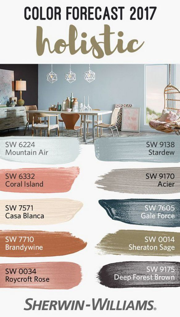 Best Paint Color for 2017.  Sherwin Williams SW 6224 Mountain Air. Sherwin Williams SW 9138 Stardew. Sherwin Williams SW 6332 Coral Island. Sherwin Williams SW 9170 Acier. Sherwin Williams SW 7571 Casa Blanca. Sherwin Williams SW 7605 Gale Force. Sherwin Williams SW 7710 Brandywine. Sherwin Williams SW 0014 Sheraton Sage. Sherwin Williams SW 0034 Roycroft Rose. Sherwin Williams SW 9175 Deep Forest Brown. #Newpaintcolors #2017paintcolors