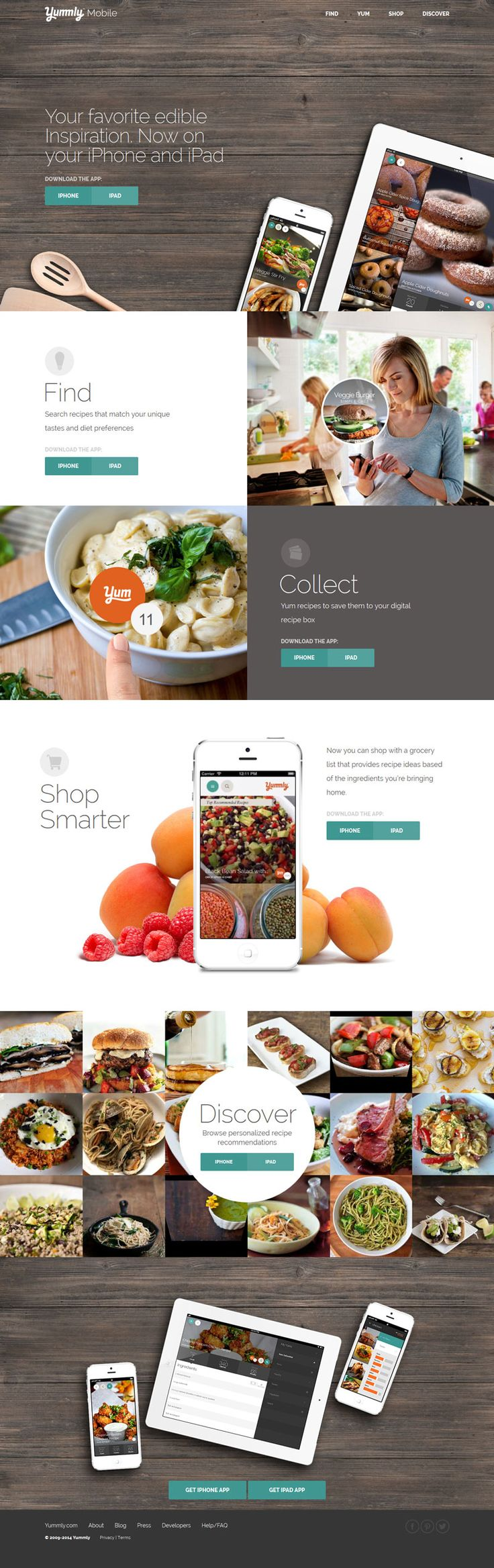 Yumml Mobile, flat design website, wood