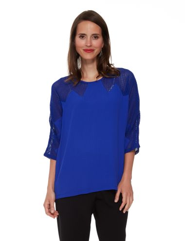 This relaxed three-quarter length sleeve top is in a bold blue colour and has a zigzag shoulder panel in a matching blue mesh fabric.