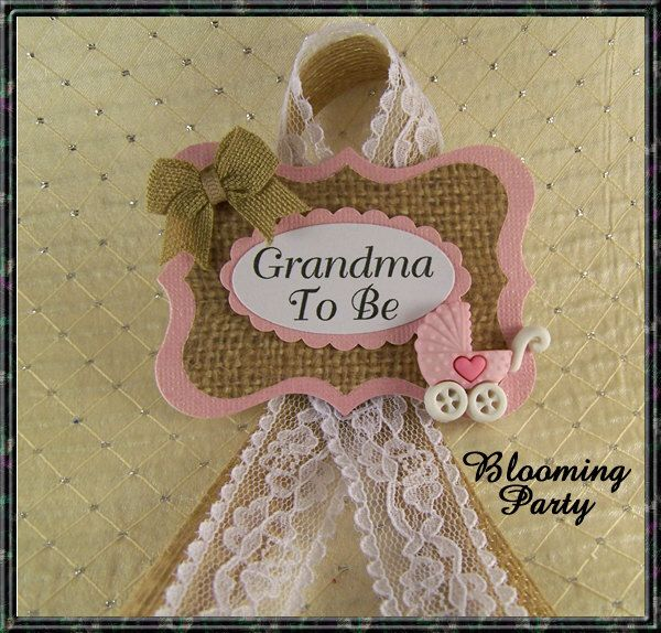 Pink Carriage Shabby Burlap And Lace Grandma To Be Corsage Shabby Baby  Shower Pink Burlap Baby