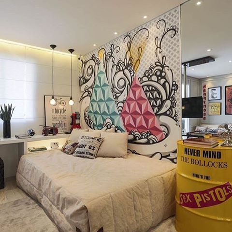 Graffiti na cabeceira para deixar o quarto mais despojado!! #encontrandoideias #graffiti #quarto  #detalhes #home #instalove #ideias #inspiracao #inspiration