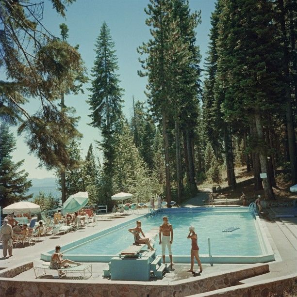 'Pool At Lake Tahoe' 1959  Open Edition or Limited Edition Estate Stamped Print (edition size 1/150).   Bathers by a pool on the shore of Lake Tahoe, California, 1959. (Photo by Slim Aarons)  Available to order online in various sizes and frames - worldwide shipping at GALERIEPRINTS.com