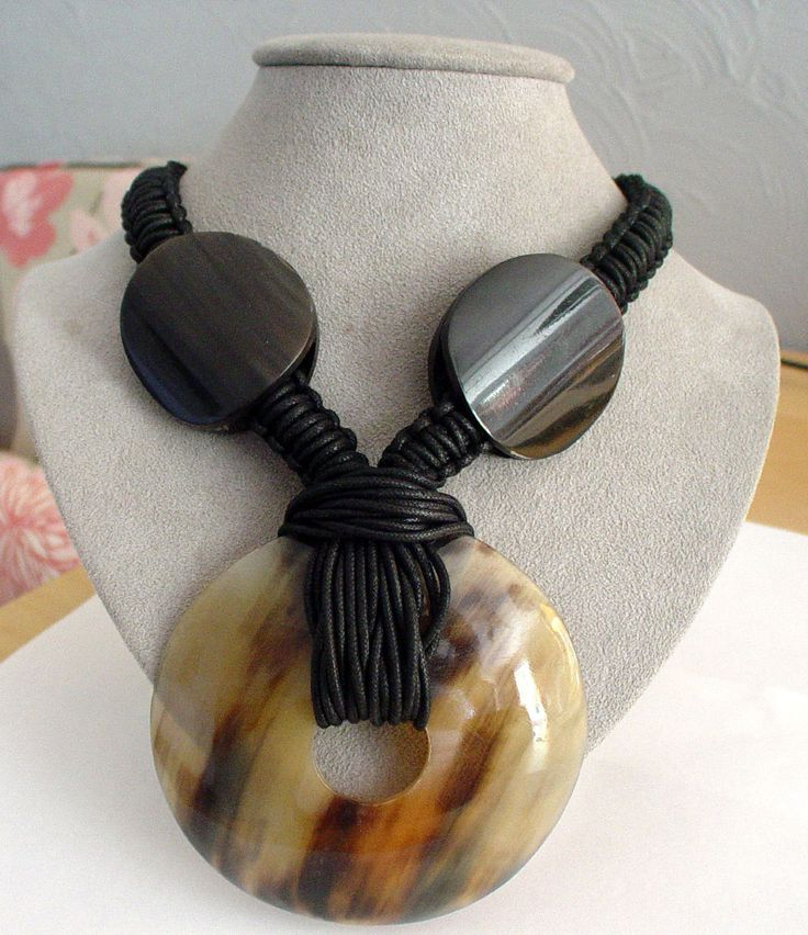 Gerda Lynggaard Monies horn and woven-cord couture runway statement necklace.  | eBay