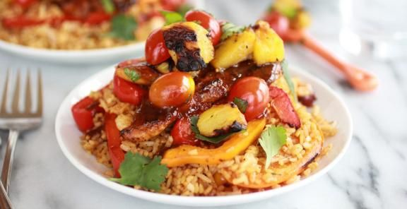 Jerk Chicken with Fried Rice and Grilled Pineapple Salsa