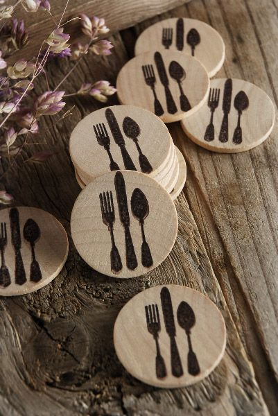 I've designed this stamp and thought these would look great glued on the burlap silverware envelopes....Wood Circles Silverware Medallion 1.5 (12 pieces) $6.99