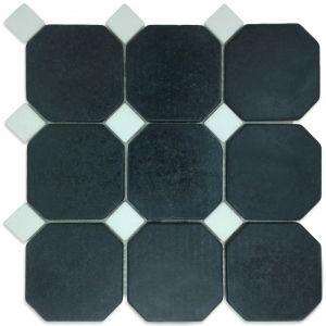 Macedonian Black, Thassos S. White mozaika_łazienkowa_mosaic_athena_czarna_biała_kamienna_mosaico_warszawa