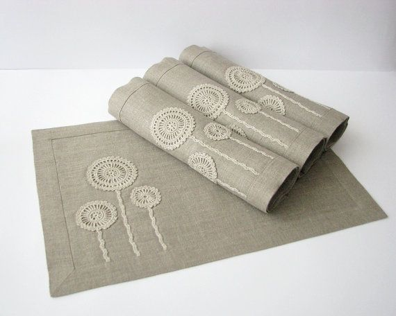 Linen placemat natural gray color with handmade by daiktuteka